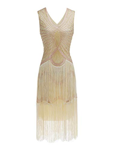 Kaiyei Damen V-Ausschnitt Lange Ärmel Quaste 1920 s Große Gabsty Latin Dance Kleid Flapper Mädchen Pailletten Fransen Kleider Aprikose M Flapper Dance