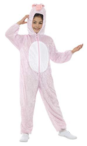 Smiffys Kinder Unisex Schweine Kostüm, Jumpsuit mit Kapuze, Größe: M, 30784