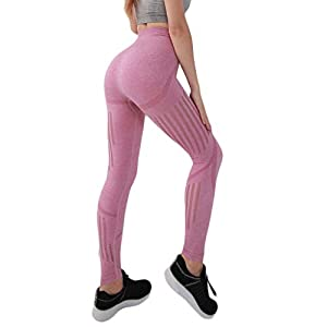 LRWEY Yoga Pants Womens High Waist Gym Sports Leggings Tummy Control Running Workout Compression Tights Stretch Training Trousers with Printing Pink