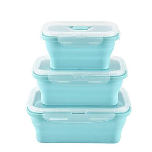3 Teile/Satz Silikon Faltbare Lunchbox Frischgemüse Obst,Green -