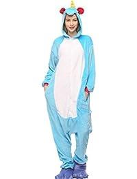 YOGLY Pijama Unicornio para Adultos Pijama Animal Invierno Entero de Franela Unisex Pijama Mono Cosplay