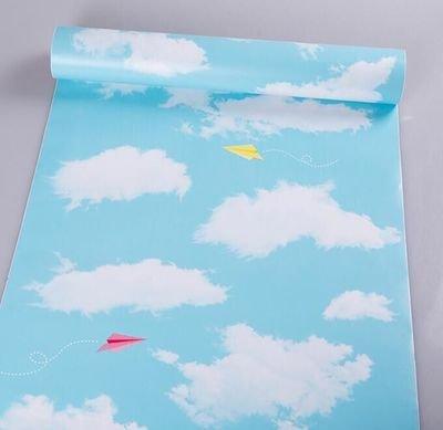 REAGONE Die Tapete Self Adhesive 10M 60cm breit A Solid Grün Schlafzimmer Quarters Romantische Wasserdicht Tapete Selbststock, Blau 45W 10M Blue Sky, Große Aircraft.683104