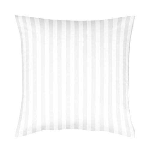 Damast Kissenbezug (Fleuresse Damast Kissenbezug, weiß, 80 x 80 cm)
