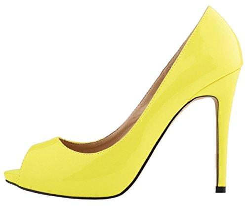 HooH Femmes Escarpins Plateforme Talon haut Robe Escarpins Mariage Chaussures a enfiler Citron