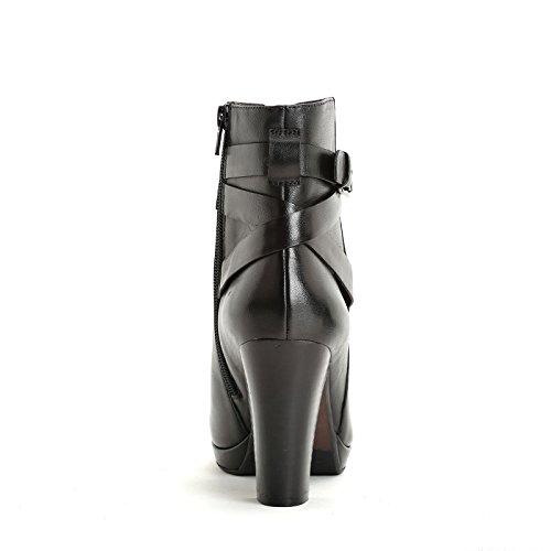 Alesya Scarpe&Scarpe - Stiefeletten mit Schnallen und Riemchen, Leder, mit Absätzen 9 cm Schwarz