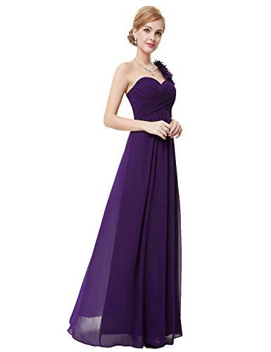 Ever Pretty Damen Blumen One Shoulder Chiffon Maxi Abendkleider Größe 36 Dunkel Violett -