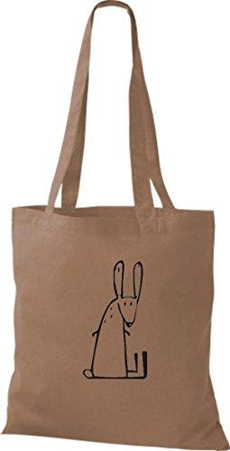 ShirtInStyle Stoffbeutel Baumwolltasche Lustige Tiere Hase Kaninchen Farbe Pink hellbraun