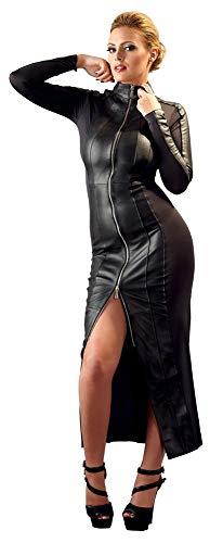 ZADO Leder Kleid - verführerisches Lederkleid mit Stehkragen für sie, langes Kleid zur erotischen Verführung des Partners, figurbetonter Einteiler, schwarz