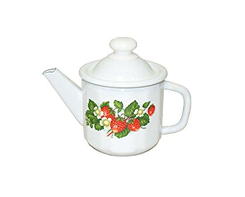Emaille Teekanne Kaffeekanne 1 Liter ca 12,5cm Durchmesser Erdbeeren / Retro Nostalgie Geschirr