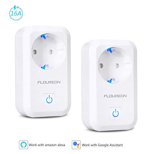 FLOUREON Presa Intelligente, Presa Wifi Smart Plug EU per iOS Android App Compatibile con Amazon Alexa Controllo Wifi Plug