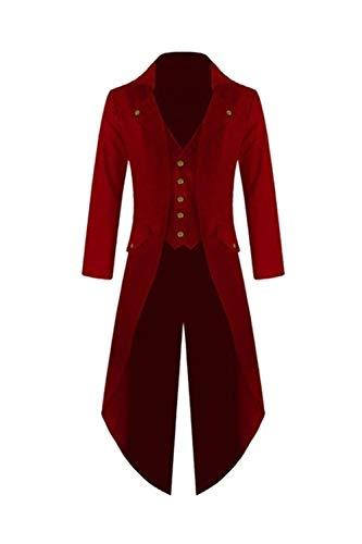 Zirkus Vintage Männer Kostüm - Vosujotis Männer Gothic - Kostüm Jacke Vintage Schlucken Einer Jacke rot XL