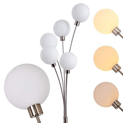 Lampadaire vintage Bernardo livré avec 5 ampoules halogènes G9 de 28 watt chacune - Finition argentée mat - Luminaire de salon moderne avec variateur d'intensité, compatible LED