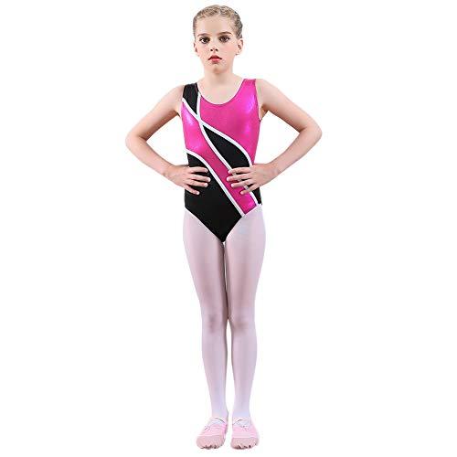 Gymnastikanzüge für Mädchen Sparkle Colorful Stripes Dancing Athletic Trikot