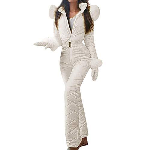 Traje de esquí para mujer Mono cálido con capucha Ajuste de piel sintética Sólido de una pieza Chaqueta...