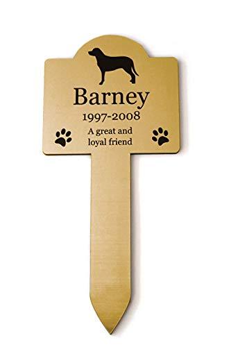 Origin Gedenktafel für Hunde, personalisierbar, für den Außenbereich, wasserdicht, goldfarben