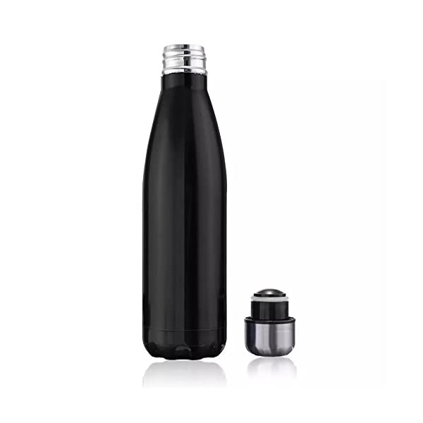 Bottiglia d'acqua 500ml doppia parete in acciaio inox coibentato, mantiene Bevanda calda & fredda Perfetto per Campeggio… 2 spesavip