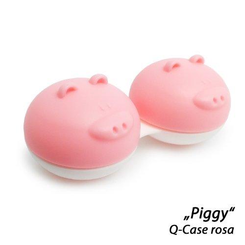 Preisvergleich Produktbild Kontaktlinsenbehälter im tierischen Design,  niedlicher blauer Elefant,  süsses rosa Schwein,  witziges graues Nilpferd / Q-Case (rosa Schweinchen)
