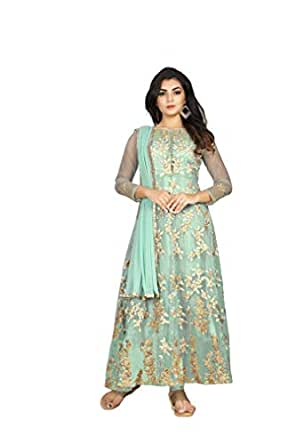 FKART Women's Net Semi-stitched Anarkali Salwar Suit with Dupatta (Light Green, Free Size)