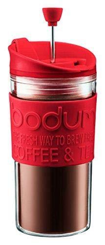 BODUM-TRAVEL PRESS Cafetière/théière à piston avec couvercle supplémentaire 0,35 l Rouge