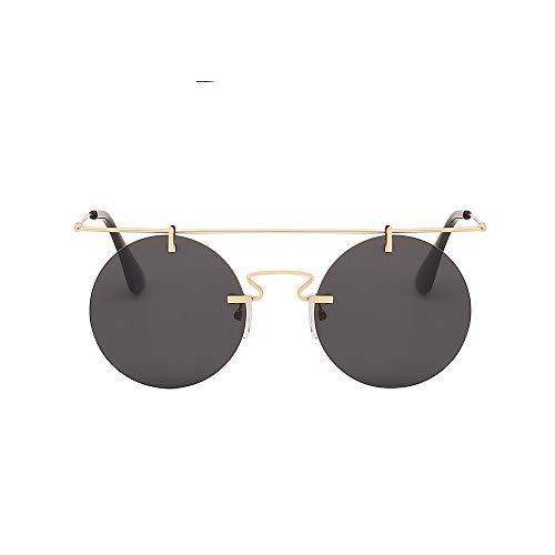 WJMLHLKK Mode Männer Frauen Designer Brillen Runde Randlose Steampunk Sonnenbrille Vintage Eyewear Qualität Uv400