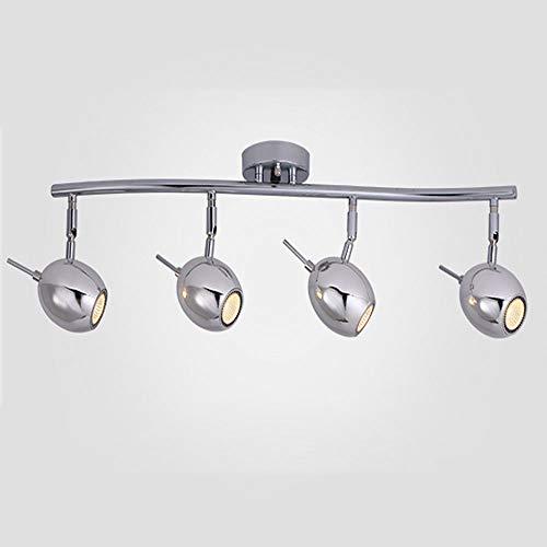 Moderne Nickel-track Kit (ZCbd Verstellbares LED-Beleuchtungsset für 4-Licht-Leuchten - gebogen, versilberte Oberfläche, 4 Lampen enthalten (Color : Chrome))
