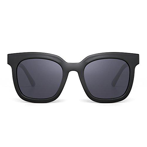 JIM HALO Occhiali da Sole Oversize Piatto Specchio Designer Piazza Occhiali da Vista Colorati (Nero/Grigio)