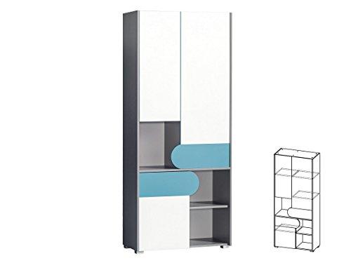 Schrank Hochschrank Regal mit Türen FUTURO Kinderzimmer Möbel Farbauswahl (weiß / graphite / türkis) - 2 Tür Hochschrank