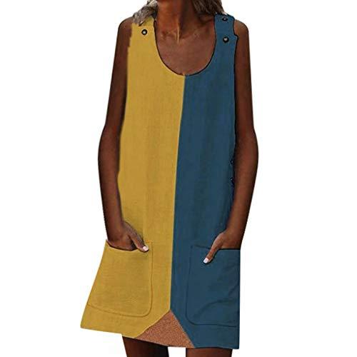 AIni Femmes Robe Jupe-Fashion Summer Street Leisure Poche éPisséE sans Manches Grande Taille-Casual Clubbing Cocktail SoiréE-Robe Vintage Fille
