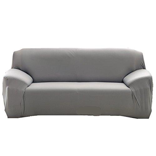 Housse de canapé 1234places Slipcover Fauteuil Easy Stretch élastique Tissu Canapé Housse de protection Pure Couleur, gris, 3 Seater:190-230cm