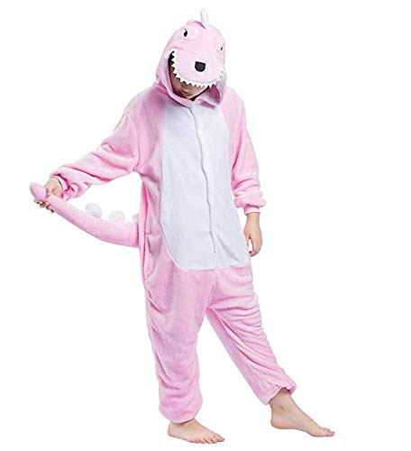 Warmes Unisex-Karnevals-Kostüm für Kinder, Einhorn Eule Zebra Giraffe Kuh, für Halloween Fest Party, als Pyjama, Tier-Kigurumi-Kostüm für Zoo-Cosplay, Einteiler - XXS/Höhe 95/105 cm - Dinosauro - Karneval Kostüme Unisex