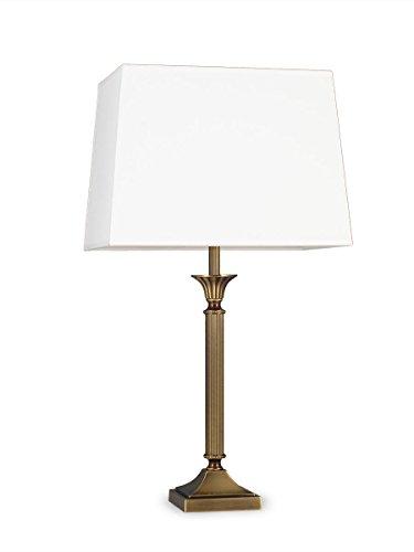 Helios Leuchten 403776/2 klassische Tischleuchte Tischlampe Kandelaber | Messing antik | Altmessing, Lampenschirm Stoff rechteckig weiß, für LED Lampen geeignet