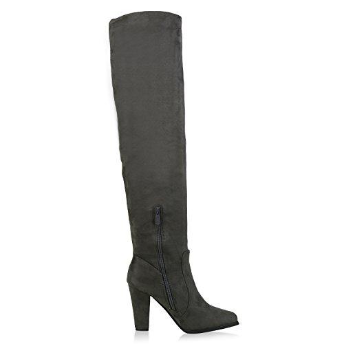 Damen Stiefel Overknees 70s Look Boots Veloursleder-Optik Schuhe Blockabsatz High Heels Profilsohle Langschaftstiefel Jennika Dunkelgrau