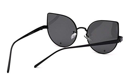 GZD Lunettes de soleil de mode pour dames Trendy Glasses Acier inoxydable Ultra-Light Yurt réfléchissant Black