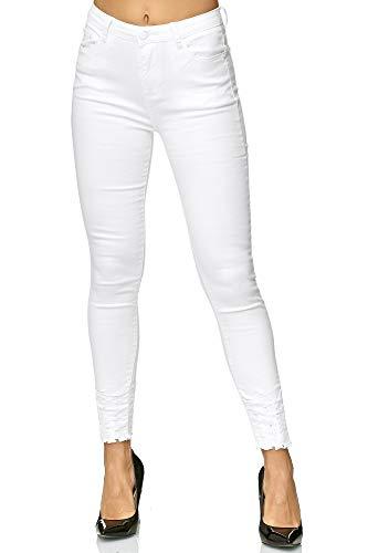 Elara Damen Stretch Hose | Skinny Röhrenjeans | Elastischer Bund | Slim Fit | Chunkyrayan E1146 White 40