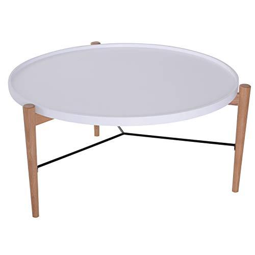 Homcom Table Basse Ronde Design scandinave Ø 90 x 45H cm métal MDF Bois Massif et Blanc