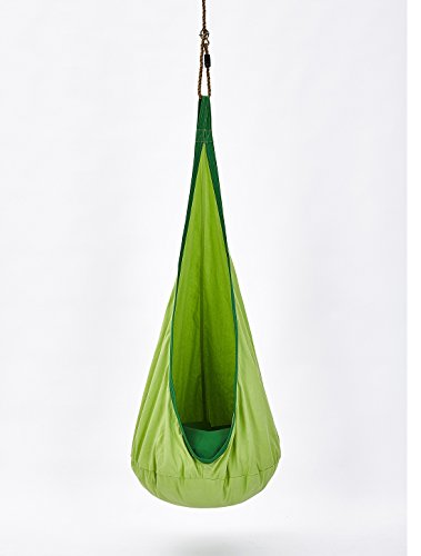 mxgirls Hängehöhle Kinder Hängematte mit Haken und Seile, Hängesitzsack Hängesessel als Indoor Schaukel Rückzugsort inkl. Aufblasbares Kissen für Kinder (Grün)