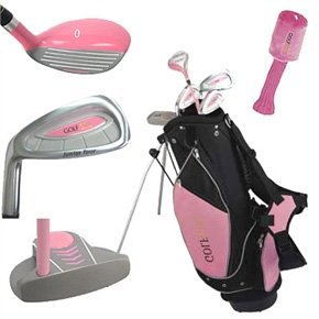 Golf Girl LEFTY Junior Club Set for Kids Ages 8-12 w/Pink Stand Bag [Sports] by Golf Girl -