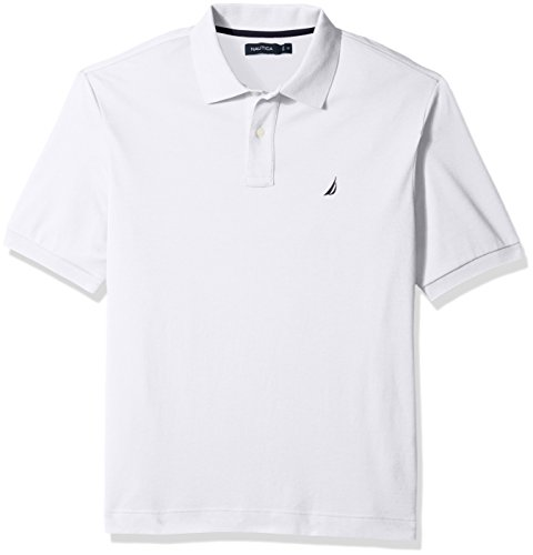 Nautica Men's Tall Classic Fit Short Sleeve Solid Soft Cotton Polo Shirt, Bright White, 5X Big (Big Poloshirt Tall Herren)
