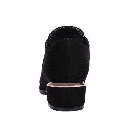 Voguezone009 Femmes À Talons Bas En Plastique Pur Lacets Bout Pointu Ballerines Noires
