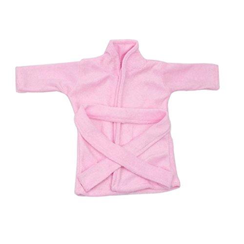 Gazechimp Mini Pink Bademantel Pyjamas Saunamantel Nachthemd Puppenkleidung Für 18'' Amerikanische Mädchen Puppe