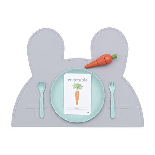 Tovaglietta Bunny-  Design potremmo piccolo coniglietto-tovaglietta in silicone per neonati e bambini in grigio (senza BPA e lavabile in lavastoviglie)