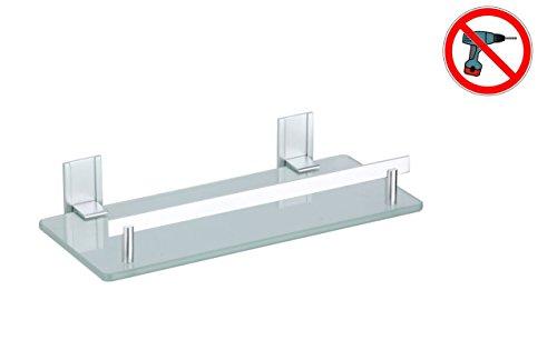 MSV Bad Regal Tabarca Eckregal Duschregal aus Aluminium und Glas - kleben und bohren