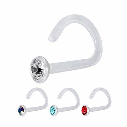 Bioplast - Nasenstecker - Kristall - steril (Piercing Nase Stab Ring transparent für Damen und Herren) RD - Rouge