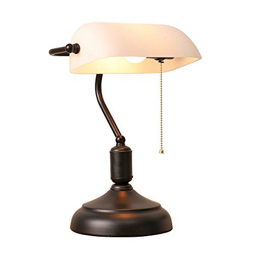 XIANGYU Nordic Traditional Style Banker Schreibtischlampe, Retro Nostalgie weiß Glasschirm Tischlampe Wohnzimmer Schlafzimmer Nachttischlampe Studie lesen Augenschutz Schreibtischlampe - Glasschirm Tischlampe