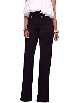 Mujeres Pantalones De Pierna Ancha Cintura Alta Corte Acampanado Pantalones Acampanados Botones Embellecer