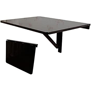 SoBuy Folding Wall Mounted Drop Leaf Table, Dining Table Desk, Black,  FWT01 SCH