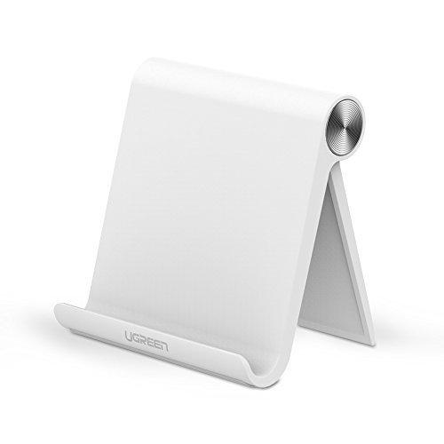 UGREEN Handy Ständer Phone Stand Multi Winkel ipad Ständer verstellbar Tisch Halterung für iPhone X/8/7/6/6/5s, Samsung Galaxy Tab A/E/E Lite/S8/Note 8, Huawei, iPads max. 10 Zoll, Google Nexus, Weiß