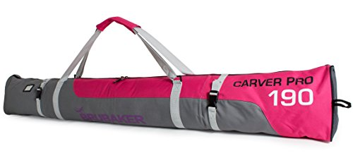 BRUBAKER Skitasche Carver Pro Limited Edition gepolsterter Skisack für 1 Paar Ski und Stöcke 190 cm Pink Grau