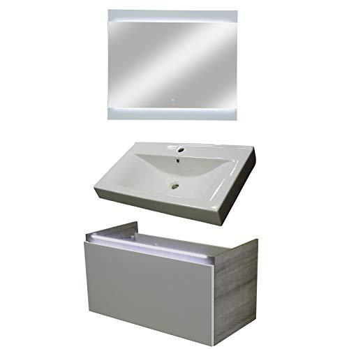 FACKELMANN Badmöbel Set Piuro 3-tlg. 85 cm weiß mit Waschtisch Unterschrank & Keramikbecken & LED Spiegelelement