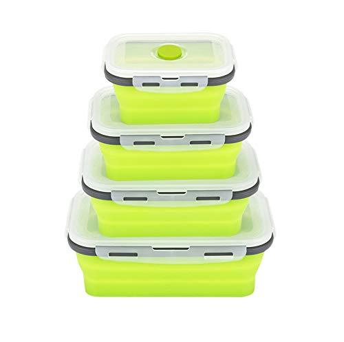 Silikon zusammenklappbaren Container, szrwd 4 Stück wiederverwendbar zusammenklappbar Frischhaltedosen Gefrierschrank zu ofenfest (grün) -